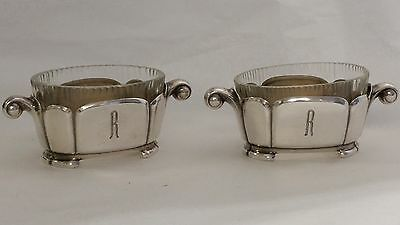 Pair Of Sterling Silver Glass Lined Dishes