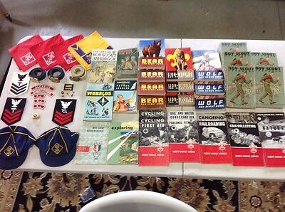 Boy Scout and Cub Scout Lot, Books, Belts, Hats, Scarves, Pins, and Patches