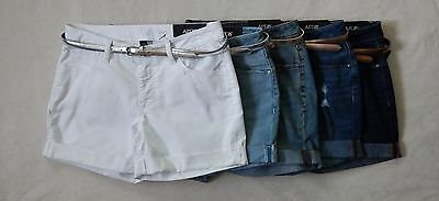 NEW APT.9 Modern Fit Womens Rolled Up White Blue Belted Denim Shorts Sizes 4 -16