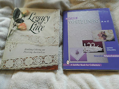 LOT 2  Hardcover with Dust jackets White Linens A-Z & Legacy of Lace  Vintage