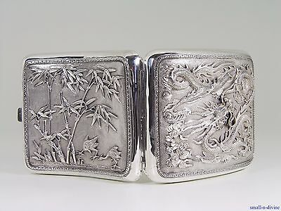 Wonderful Chinese Sterling Silver Dragon & Clouds Birds & Bamboo Cigarette Case