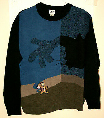 Vintage Tom & Jerry Cartoon Gray & Blue Knit Sweater 2XL NOS New 2000s Cat Mouse