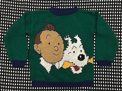 TINTIN Children's Handmade Sweater Pullover Kids Blue/Green-Good Condition