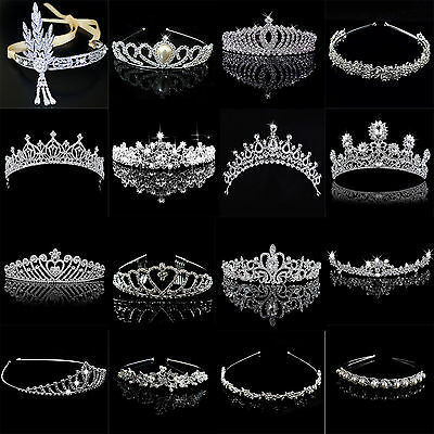 Bridal Wedding Crystal Flower Tiara Crown Pearl Rhinestone Hair Band Headband Hi