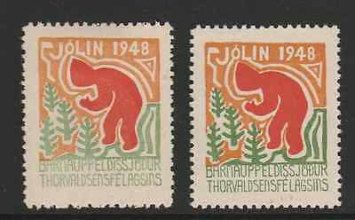1948 Iceland Christmas Seals - 2 seals different colour variations