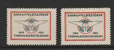 1923 Iceland Christmas Seals - 2 seals different colour variations