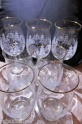ORIGINAL ARBY's Set/4 Glasses & 3 Wine Christmas Holiday Winter Scene w Gold Rim