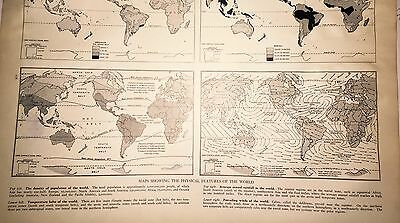 1937 Antique Map Physical Features Of The World 4 Great Plates Were They Right??