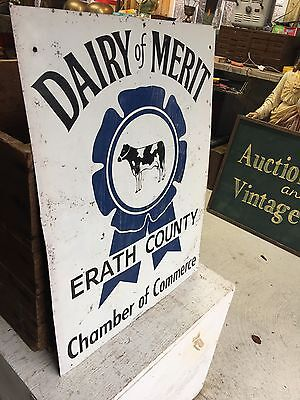 """Vintage Double Sided Metal Sign Dairy Of Merit Wrath County Texas 24"""" X 18"""" Farm"""