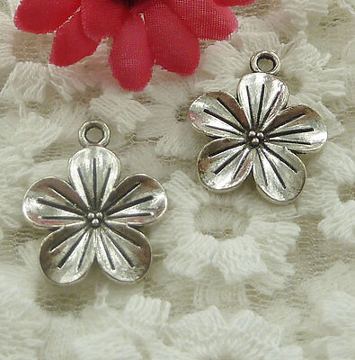 free ship 120 pieces Antique silver flower charms 23x19mm #2153