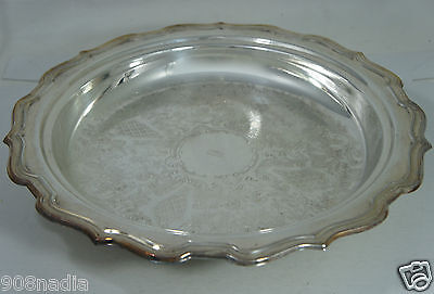 Vintage Silver Plate Footed Bowl/dish/tray Scalloped Edges Mono