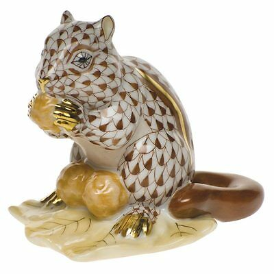 HEREND, CHIPMUNK with BERRIES PORCELAIN FIGURINE, CHOCOLATE FISHNET, FLAWLESS