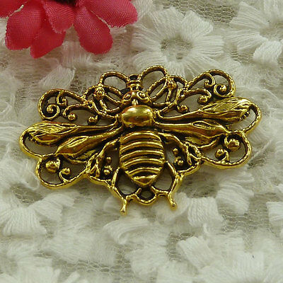 free ship 17 pieces gold plated bee pendant 45x29mm #2892