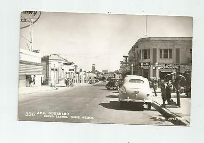1930's NUEVO LAREDO TAMPS MEXICO GUERRERO AVE REAL PHOTO POSTCARD GREAT OLD CARS