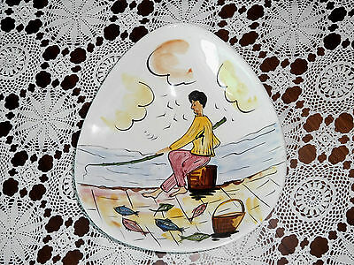 Vintage Mid Century 1950's Large Serving Bowl Italy Kitsch Fisherman