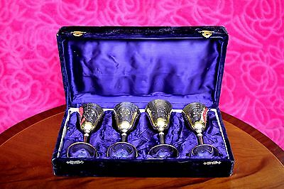 Set of 6 Vintage Silver Plated Wrought Metal Wine Goblet Glasses in Original Box