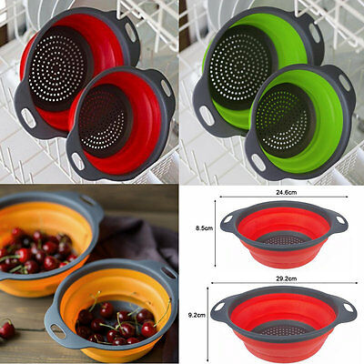 2 Size Collapsible Kitchen Filter Baskets Silicone Colander Strainers Hopper