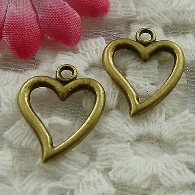 Free Ship 300 pieces bronze plated heart charms 19x15mm #958