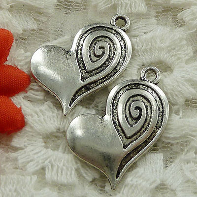 Free Ship 40 pieces Antique silver heart charms 25x20mm #1601