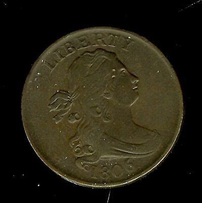 1806 Draped Bust Half Cent -Stemless, Small 6- About Uncirculated @@ Breathless