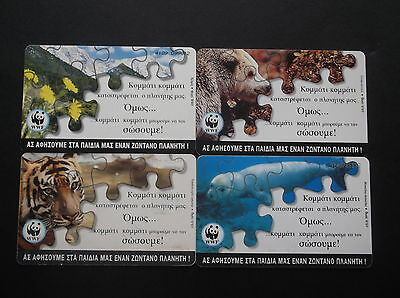 Griechenland Lot 4 Different Phonecards With Theme: Wwf Greece Grecia Grece