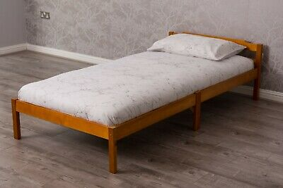 White Pine Wood Single Bed Frame Solid Pine Wood Bed New Sleigh Design