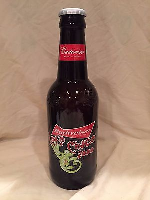 Budweiser Cinco 2000, Collectable, Large Glass Bottle Free Shipping