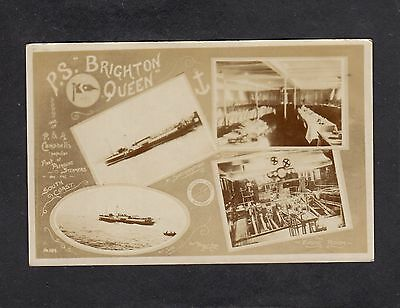 """""""Brighton Queen"""" P&A Campbell paddle steamer multiview advert postcard"""