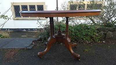 A Beautiful Victorian Burr Walnut Veneered Inlaid Table with Lovely Carved Base