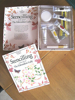 BNIB Stencilling Kit in the Style of an Edwardian Lady +Book+Paints+Brush+Sponge