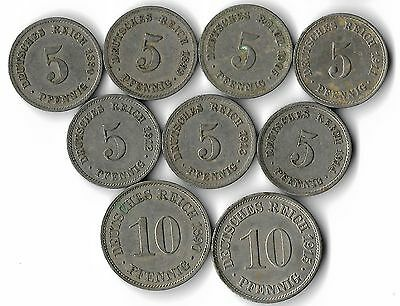 Germany Lot Of 9 Coins