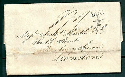 """GB 1825 PRESTAMP COVER-LETTER GLASGOW TO LONDON, """"Add. 1/2d"""" POSTMARK-CAG 210117"""