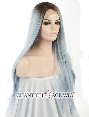 Best Ombre Blue Front Lace Wigs Heat Resistant Synthetic Hair Long Straight Wig