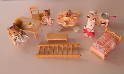 Sylvanian  Families, Furniture And Figures Plus Nursery Party Set .