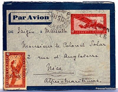 Lettre  INDOCHINE 1936 SAIGON COCHINCHINE  PAR AVION    AV59