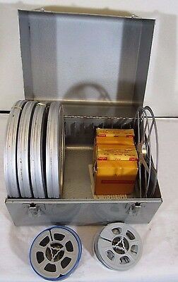 """8 mm  Home Family Movie 7"""" Film Reels 1960-1970 Lot of 4 In Metal case"""