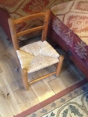 vintage french, wood and Ratten, Childrens, toddlers, dolls chair