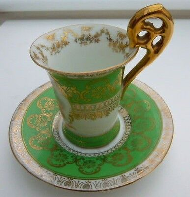 VIENNA PORCELAIN SUP AND SAUCER Hand decorated.