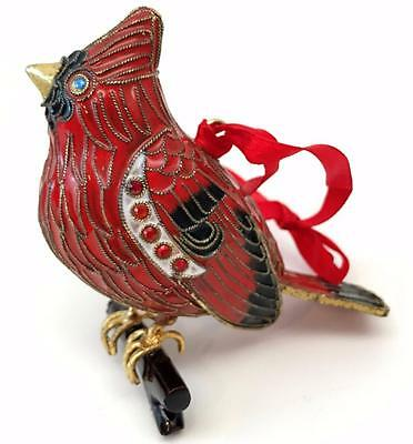 Beautiful Cloisonne Cardinal Bright Red Enamel Christmas Ornament w/ Box