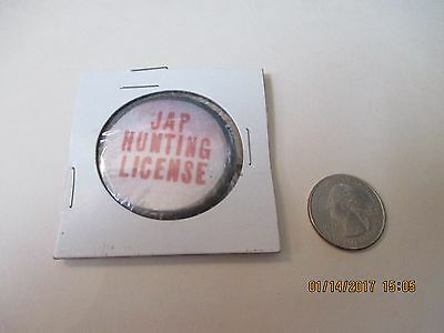 Original Wwii Homefront Anti Axis Comic Japan Hunting License 1 3/4  Button