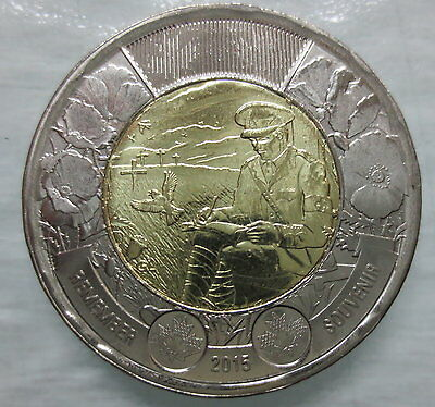 2015 Canada 2 Dollar Flanders Field Toonie Brilliant Uncirculated Coin