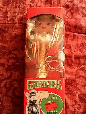 Vintage Tinsel Liberty Bell Blinking Angel Christmas Tree Top Treetop Lighted