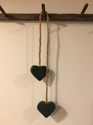 Primitive Country Love Heart 2 Green Wood Wall Hanging Decor Valentines Day