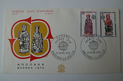 Europe Europa 1974 Andorra Set On Fdc Cover