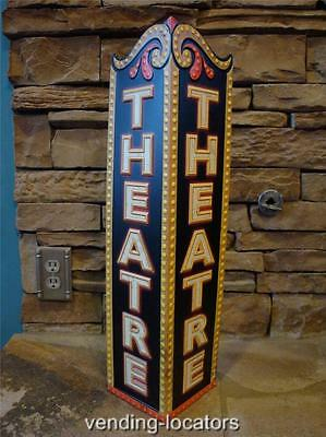 THEATER Metal Sign Cinema Theatre Poster Ticket Drive In Neon Look Game Room New