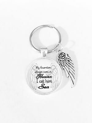 Son In Heaven Memory Guardian Angel Wing Memorial Sympathy Gift Keychain