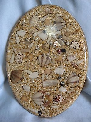 """Vintage OVAL Sea Shell Abalone Trivet Hotplate Footed Acrylic Resin 10""""x7"""""""