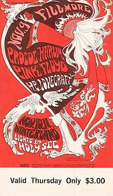 Pink Floyd Procol Harum 1967 BG 92 ORIGINAL/MINT Fillmore Ticket