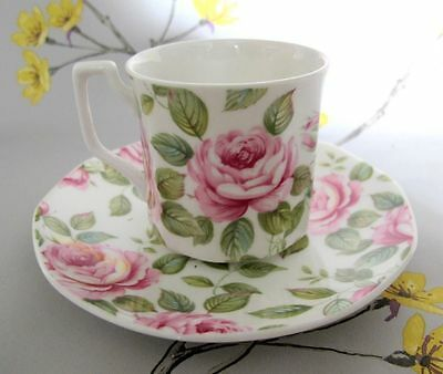 Vintage Queens bone china Cottage Rose coffee cup and saucer. Pink flower.