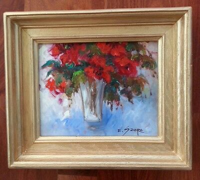 EVA SZORC 2013 Still Life Painting Original Oil On Canvas Red Flowers In Vase